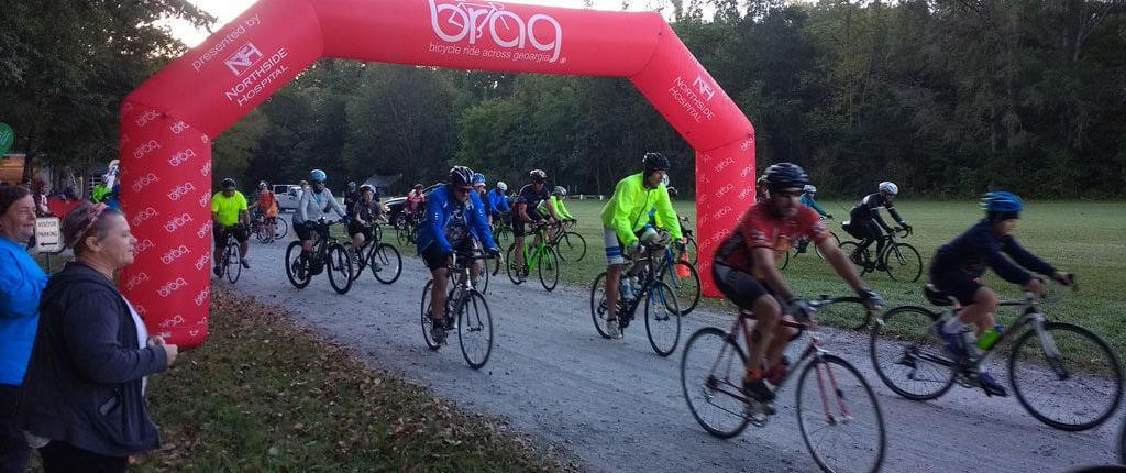 Cyclists start their fall BRAG ride in Chattanooga.