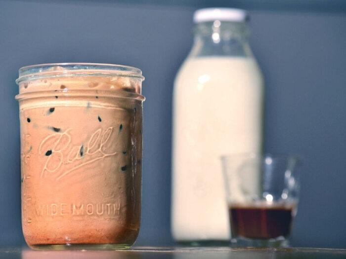 A milk chocolate iced coffee drink.