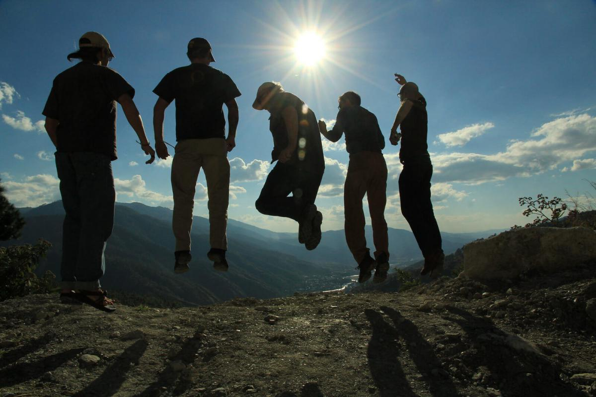 Bill Harris jumps with a group in Guatemala.