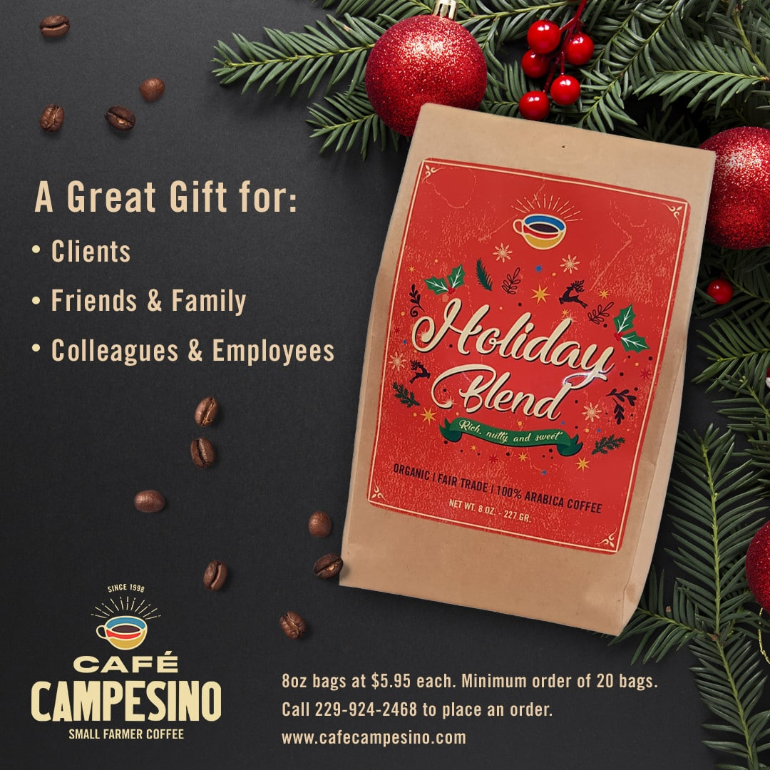 "Cafe Campesino Holiday Blend sticker on a kraft bag with the words ""A Great Gift for: Clients, Friends & Family and Colleagues & Employees"" on top."