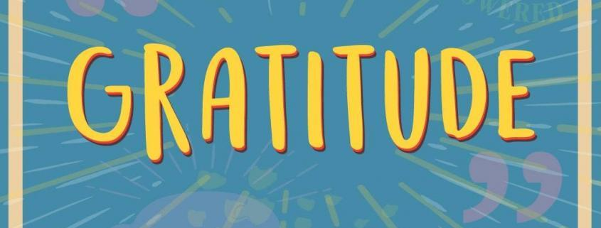 "the word ""Gratitude"" written in yellow on top of a blue square. Colorful cafe campesino-brand coffee mug in bottom right hand corner and hashtag coffee gratitude in the bottom left hand corner"