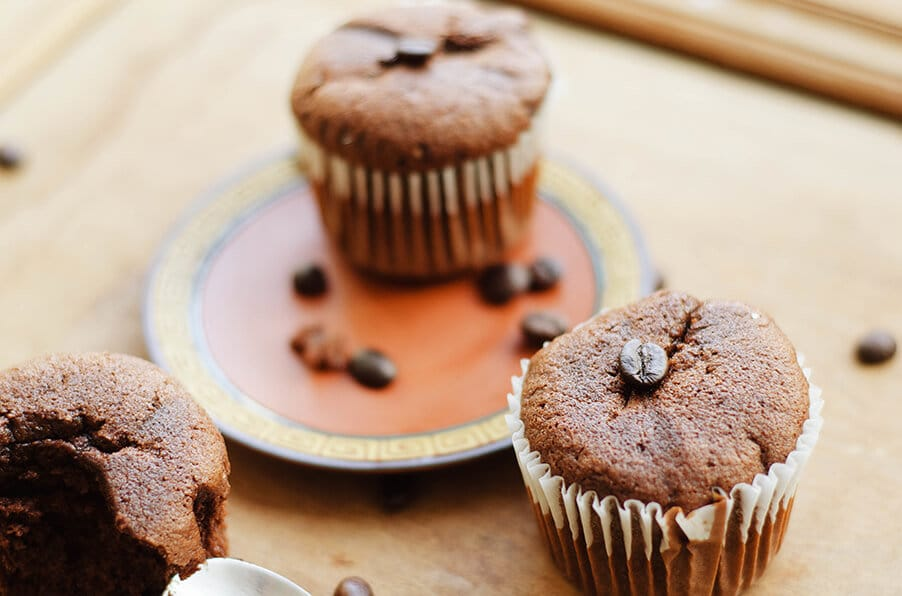 three coffee muffins