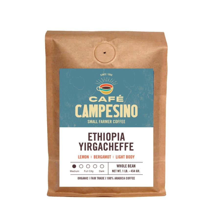 Ethiopia Yirgacheffe coffee packed in brown craft bag with a blue and white sticker on top.