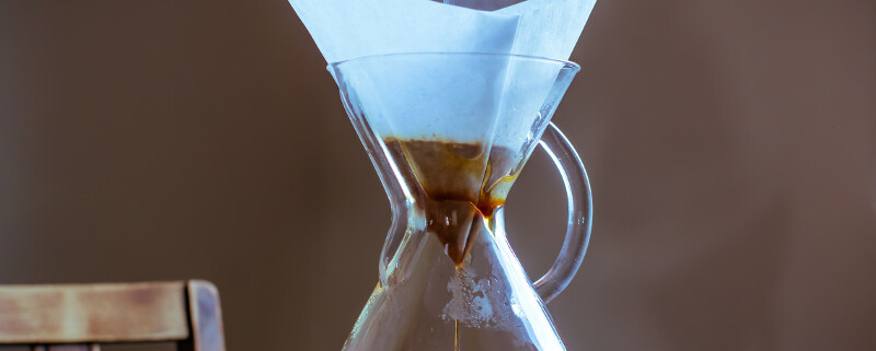 Chemex Brewer with Filter and Hot water poured from above