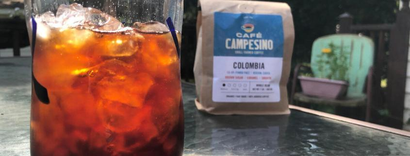 colombia coffee with iced coffee in center