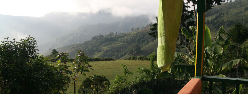 view of mountainside from porch in colombia