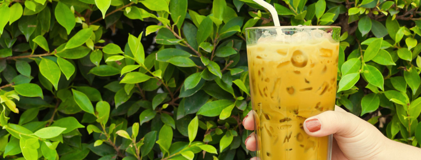 Golden Milk Iced Latte with Cafe Campesino fair trade coffee cold brew