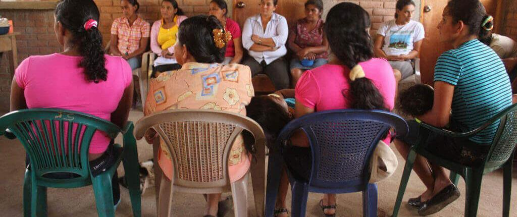 A meeting of women in Communidad El Colorado who are benefiting from the rebuilding project. Photo by Julia Baumgartner. September 2012.