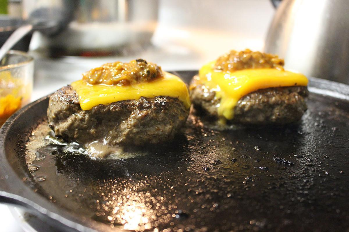 Western Style burgers with coffee infused chili relish